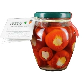 Peperoncini con prosciutto crudo e auricchio in olio di semi - Calabria Sapori