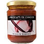 Sauce Barolo - I Peccati di Ciacco  Tenir loin des sources de lumière et de chaleur. Après l'ouverture de magasin dans le réfrigérateur et utiliser dans les 3-4 jours. Ingrédients: pâte de tomate, Barolo DOCG 10%, huile d'olive extra vierge,